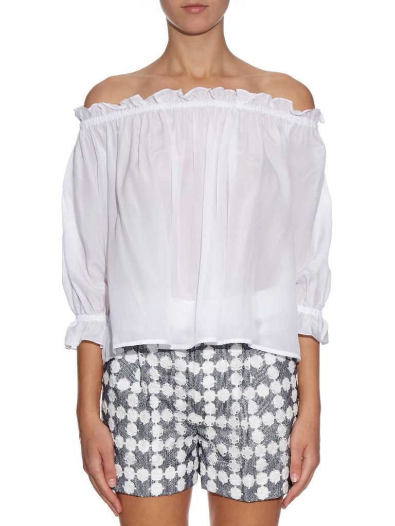 ISOLDA Fru Fru Off-Shoulder Silk Top