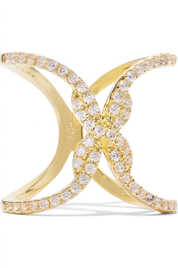 NOIR JEWELLERY Beatrice Gold-Tone Cubic Zirconia Ring